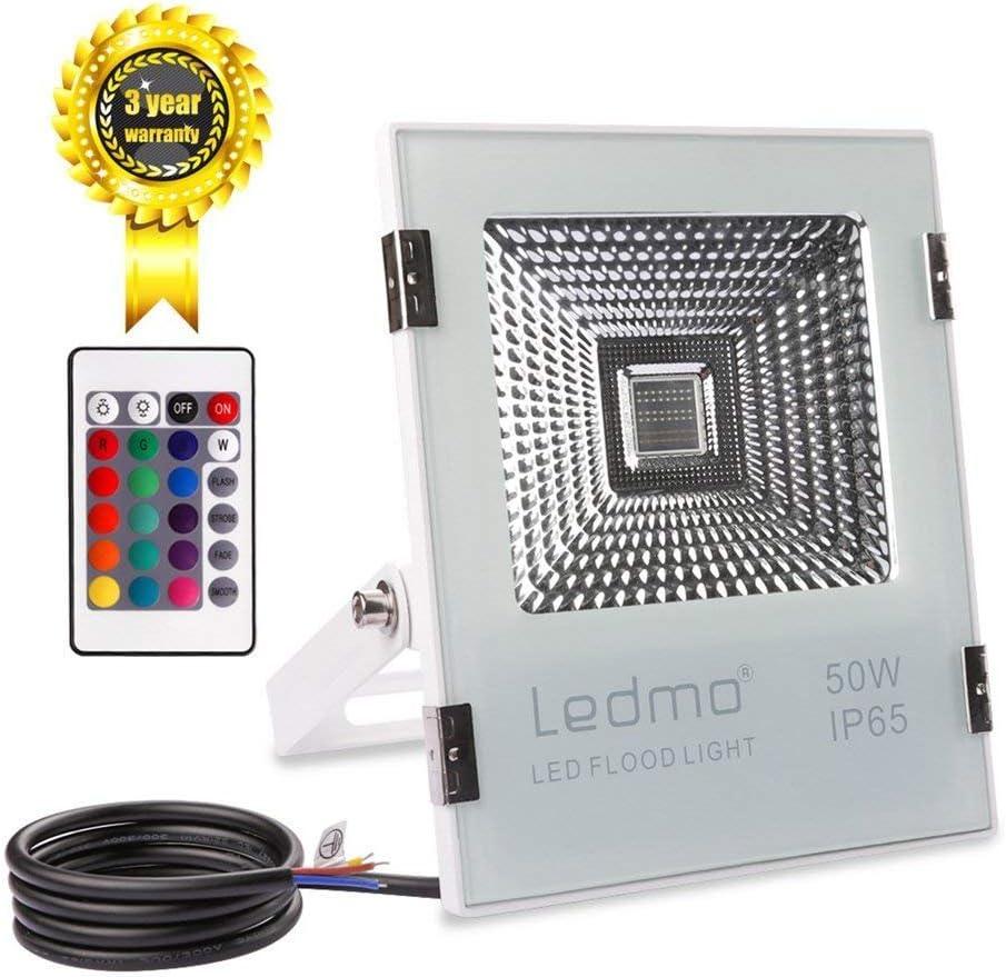 LEDMO 50W Foco LED RGB Proyector LED de colores con control remoto ...