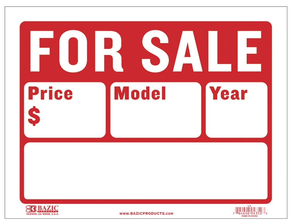 BAZIC 9'' X 12'' For Sale Sign for Car and Auto Sales (2-Line) (S-2)