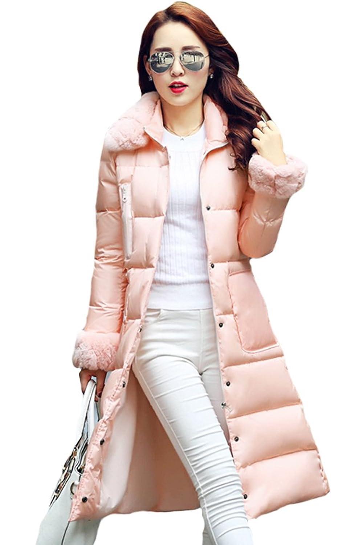 queenshiny Damen Lange Daunenjacke Mantel Jacke mit Kragen unterhalb der Knie Winter