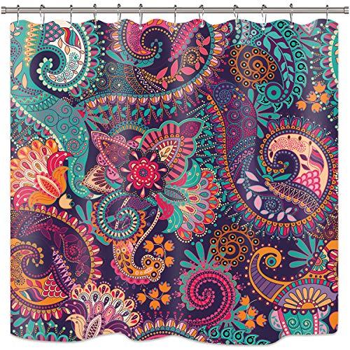 Riyidecor Mandala Indian Bohemian Shower Curtain Paisley Purple Floral Boho Yoga Abstract Tribal Colorful Bathroom Home Decor Set Fabric Waterproof Included 12 Plastic Shower Hooks 72x72 Inch