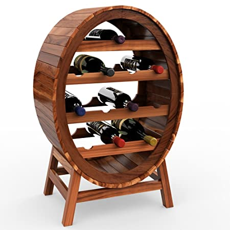 Wooden Wine Rack Barrel Shape 12 Bottles Holder Free Standing