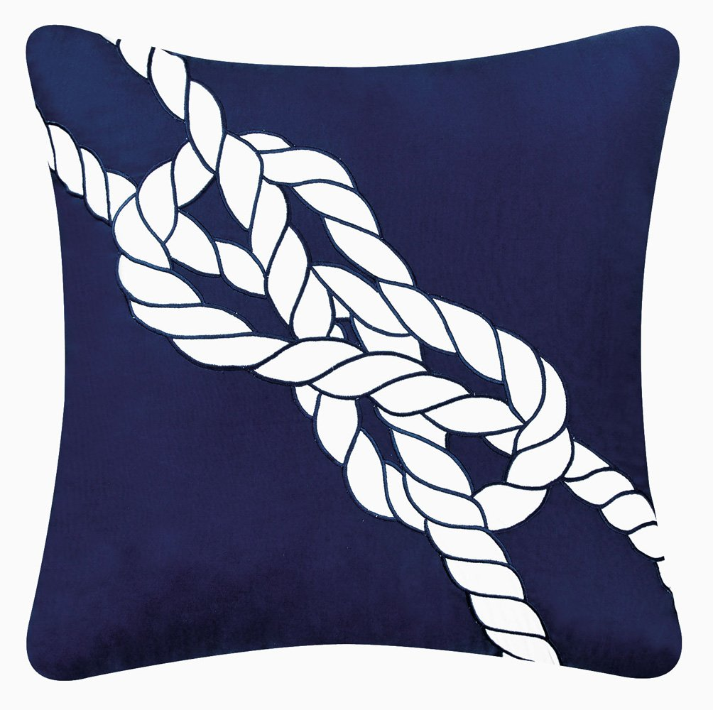 C & F Enterprises Knotty Buoy Square Navy Knot Pillow