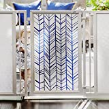 Baby & Dog Gates featuring Chevron Trail in Blue Art Screen Design from Fusion Gates (White Pearl, 36'' - 52'')