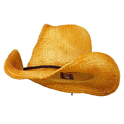 Outdoor Customizable Raffia Straw Cowboy Hat - Natural