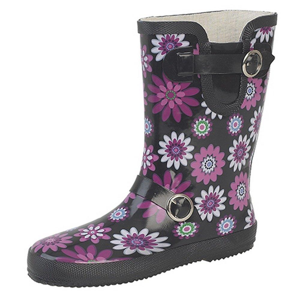 Stormwell Womens/Ladies Buckle Strap/Gusset Wellington Boots (7 US) (Black/Fuchsia)