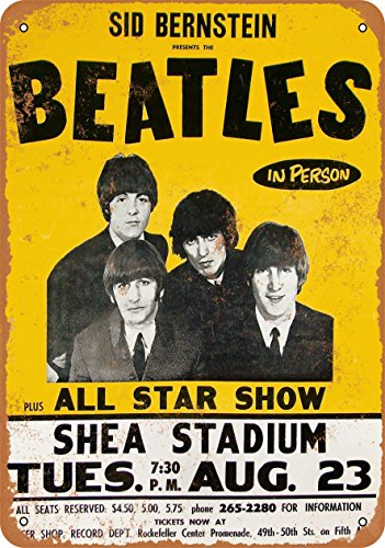 Beatles Color - Wall-Color 7 x 10 METAL SIGN - 1965 Beatles at Shea Stadium - Vintage Look Reproduction
