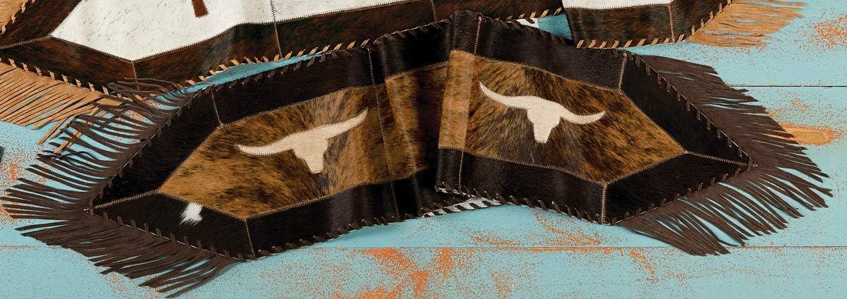 BLACK FOREST DECOR Longhorn Cowhide Table Runner