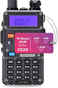 Mirkit x Baofeng Radio UV-5R MK3X 5W Power 2020 2100 mAh Li-ion Battery, Tri-Band Radio VHF, 1.25M, UHF, Mirkit Edition and Neck Strap Lanyard Mirkit Ham Radio Operator