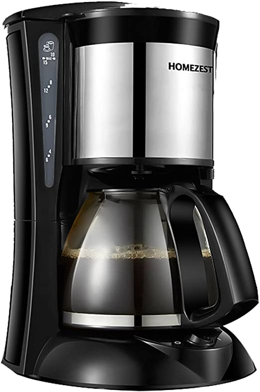 homezest Cafetera Eléctrica, filtro de kaffeemaschinen, 6 tazas jarra de cristal, filtro permanente, sistema antigoteo, Negro, 600 W, 0.65L: Amazon.es: Hogar