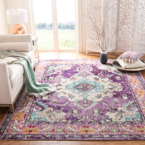 Safavieh Monaco Collection MNC243L Vintage Bohemian Violet and Light Blue Distressed Area Rug (5'1