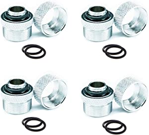 Votono 4-Pack G1/4'' OD 14mm PETG Hard Tube Fitting PC Water Cooling Fittings External Thread (Silver)