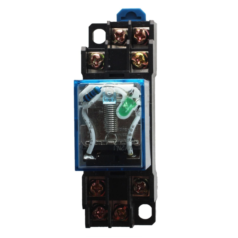 SODIAL(R) MY2NJ Model DPDT 24VDC Coil 8 Pin 35mm DIN Rail Power Relay & Socket, black