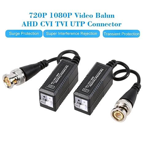 KKmoon conector para CCTV cámara 1 par Video Balun AHD 720P 1080P CVI TVI coaxial a