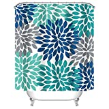 Blue and Grey Shower Curtain Uphome Dahlia Pinnata Floral Shower Curtain, Antique Colorful Blue Teal Grey Flower Bathroom Curtain Sets, Water Resistant Decorative Bathroom Fabric, 72 x 72 Inch
