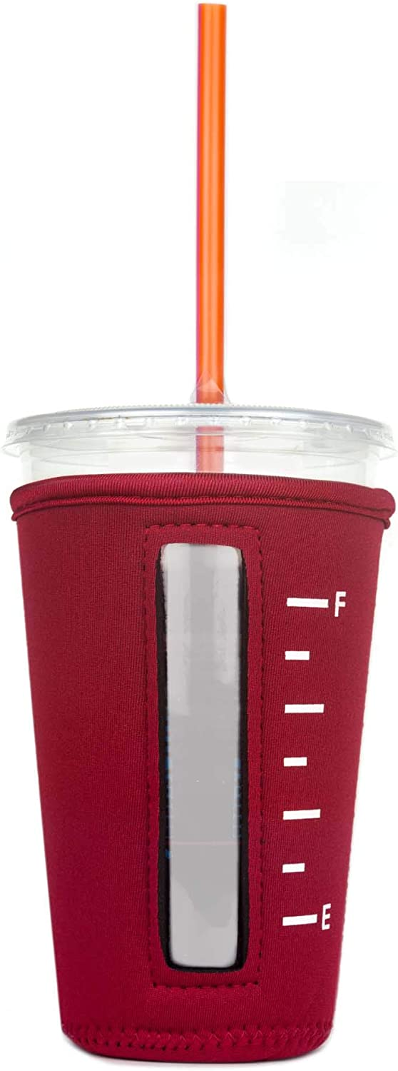 Insulated Neoprene Cup Sleeve/Holder for Iced Beverages, Coffee, and Tea (Red, Medium)