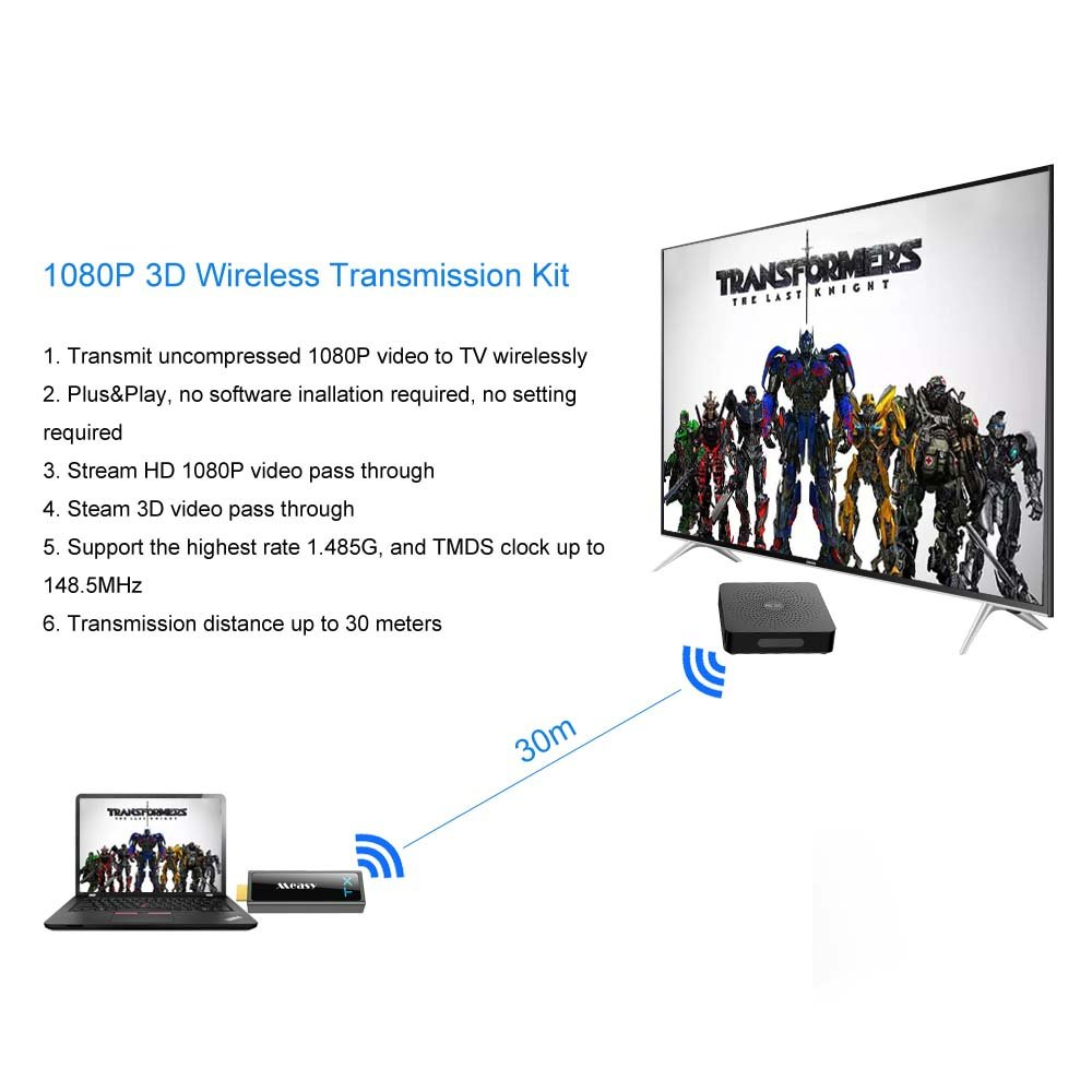 measy Wireless HDMI Transmitter Receiver Wireless HDMI Extender Support FHD 1080p 3D Video /& Digital Audio up to 30M//100Feet to Stream 1080P 3D Video from Laptop PC PSP Xbox Camera to Projector HDTV