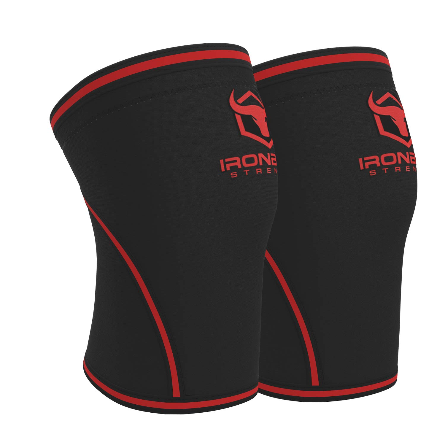 Knee Sleeves 7mm (1 Pair) - High Performance Knee Sleeve Support for Weight Lifting, Cross Training & Powerlifting - Best Knee Wraps & Straps Compression - for Men and Women (Black/Red, Medium) by Iron Bull Strength