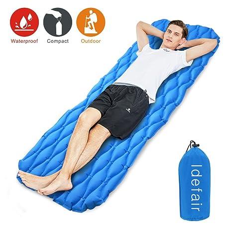 Idefair - Colchón hinchable para dormir, ultraligero y resistente al agua, ideal para tiendas de campaña, senderismo, acampada, viajes, hamaca, playa ...
