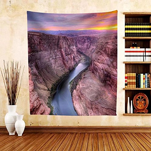 Gzhihine Custom tapestry Colorado River at Horseshoe Bend Page Az. - Fabric Tapestry Home Decor - Map Bend Willow