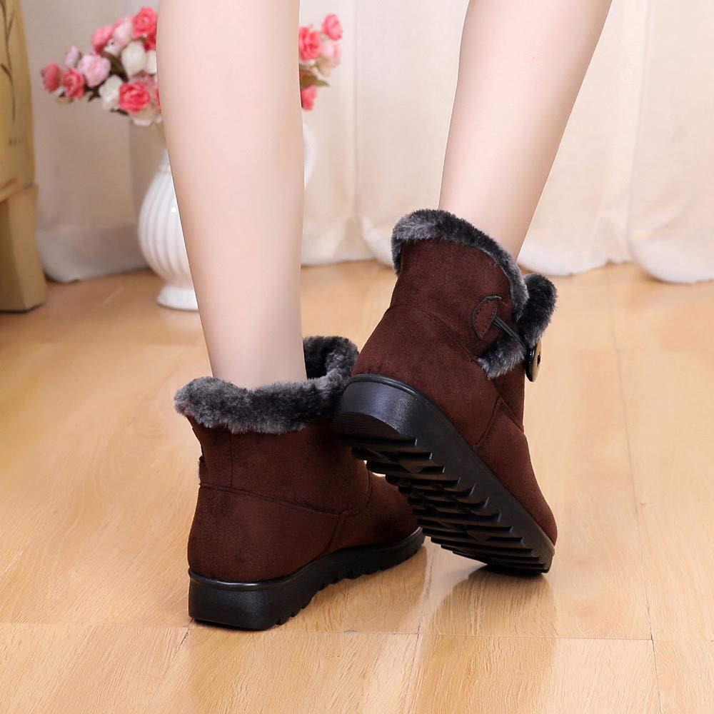 YiYLunneo Botas de Nieve Mujer Impermeable Zapatos Invierno Botines Mujeres Color SóLido Mantener CáLidos MáS Terciopelo Pnas CN 35-40