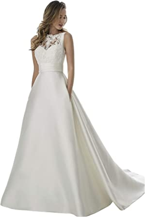 Yorformals Women S Boat Neck Satin Wedding Dress With Pockets Lace Appliques Wedding Bridal Gown At Amazon Women S Clothing Store,Stores To Buy Dresses For A Wedding