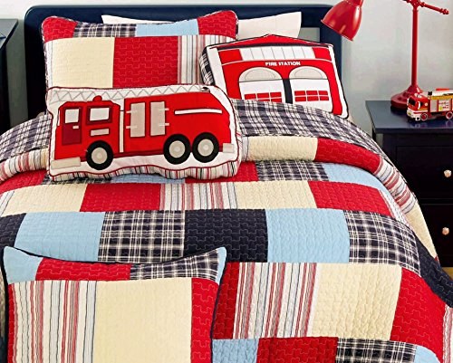Navy Blue Truck (Cozy Line Home Fashion Cars Patchwork Bedding Quilt Set for Boy, 100% COTTON Navy/Blue/Red Grid Stripe Printed Reversible Bedspread Coverlet,Gifts for Kids(Thomas Firetruck Patchwork, Twin - 2 piece))