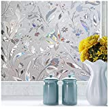 Decorative Window Cling Door Film for Glass Window Etching Peel and Stick Frosted Privacy Film for Glass Doors Heat Control Window Sticker Anti UV Covering 35.4in. by 78.7in. (90 x 200CM)
