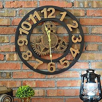 Retro de engranaje industrial viento reloj reloj Bar/Cafe/creative home/ pared decorativo reloj de pared , gold (digital): Amazon.es: Hogar