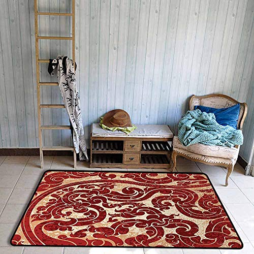 Room Bedroom Floor Rug Antique Thai Culture Vector Abstract Background Flower Pattern Wallpaper Design Artwork Print Personality W63 xL94.5 Ruby
