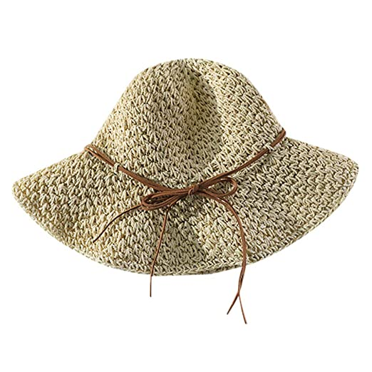 243458de Yucode Ladies Women Casual Wide Bow Brimmed Floppy Foldable Straw Beach Hat  Beige at Amazon Women's Clothing store: