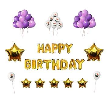 IvyLife Globos para Cumpleaños Fiesta Globos Púrpuras y Blancos de Decoración para Cumpleaños con Globos de Estrella, Inflador, Adhesiva, Cinta, ...