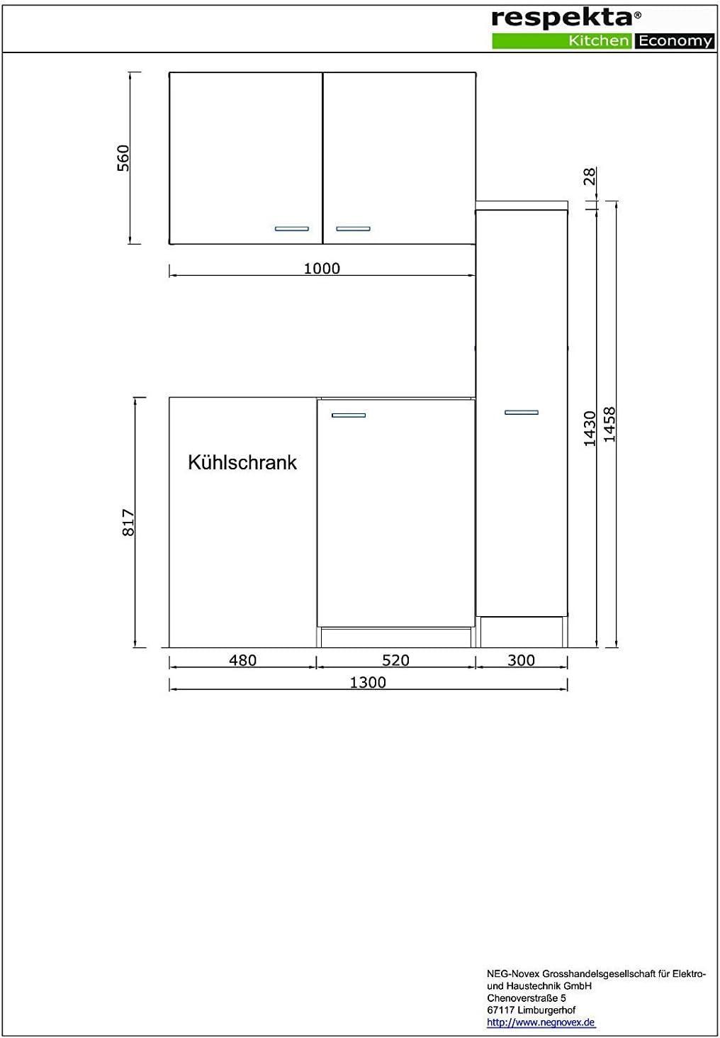 Respekta MK130WOSC Mini-cuisine avec plaque de cuisson en c/éramique Blanc 130 x 60 cm