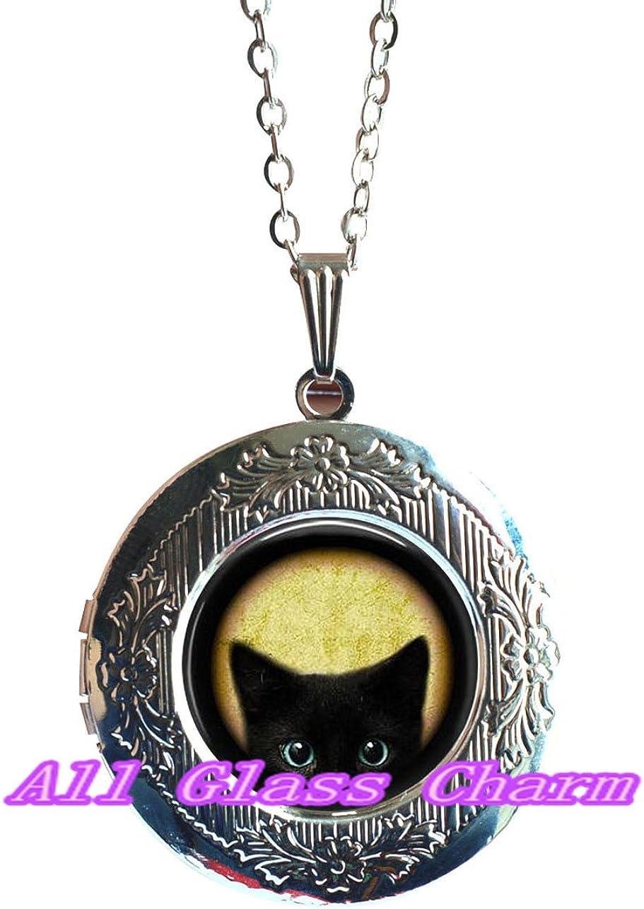 Peeking Cat Locket Necklace,AS0139 Blue Eyed Cat Cat Lover Jewelry Black Peeking Kitten Black Cat Locket Necklace Beautiful Locket Necklace