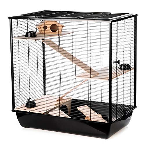 Little Friends Plaza Tall Rat and Hamster Cage with Three Floors, 78 x 48 x 80 cm, Black