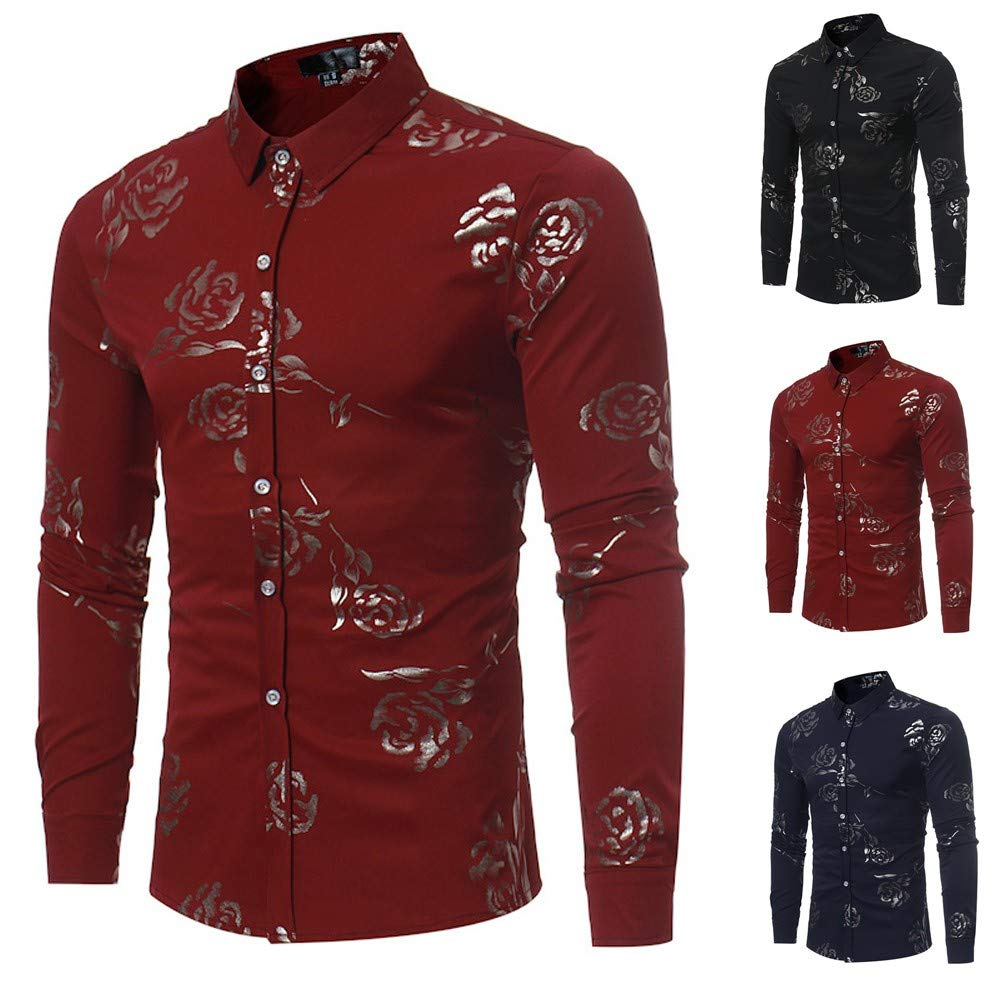 Mens Floral Dress Shirt Slim Fit Casual Paisley Printed Long Sleeve Top STORTO