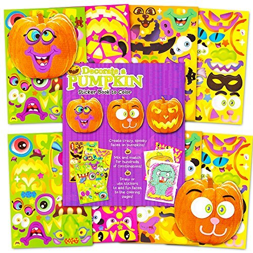 Pumpkin Decorating Stickers Set -- Over 400 Halloween Jack O Lantern Stickers (8 Decorate a Pumpkin Sticker Sheets, 64 Coloring -