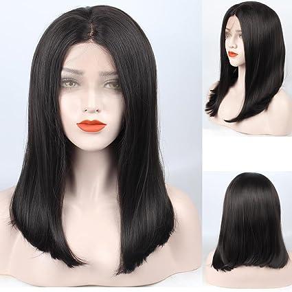 ZeroBlizzard Borgoña peluca sintética del frente pelucas peluca ondulada larga Pre desplumados 16inch marron oscuro