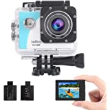 Jadfezy Action Camera Waterproof Camera Underwater 40M with EIS 140 Degree Wide Angle Two 900mAh Rechargeable Batteries and A
