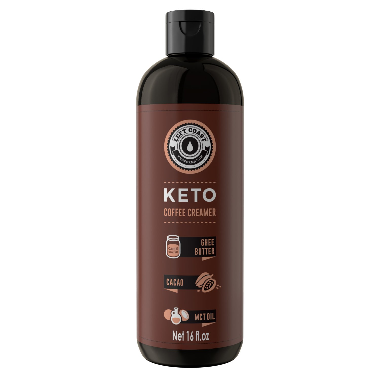 Keto Coffee Creamer HUGE 16oz bottle 32 Servings - Zero Carb Butter Coffee Booster | Ghee Butter, Organic Coconut Oil, MCT Oil, Cacao Butter, | Keto, Paleo Friendly Butter Coffee - Left Coast