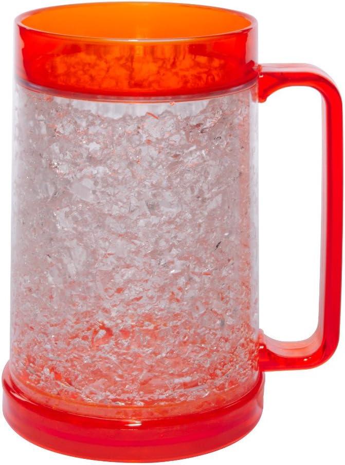 Liquid Logic Double Wall Gel Freezer Mug with Color Infused Handle, 16 oz, Orange