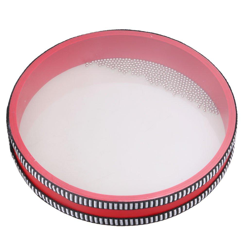 Yibuy 20x20x3.5cm Round Red Plastic Rim Ocean Wave Bead Drum Gentle Sea Sound Preschool Educational Toy for Kids etfshop M7171218024