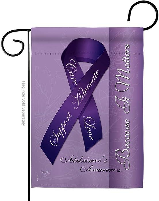 """Breeze Decor G165093 Alzheimer's Inspirational Support Decorative Vertical Garden Flag, 13"""" x 18.5"""", Multicolor"""