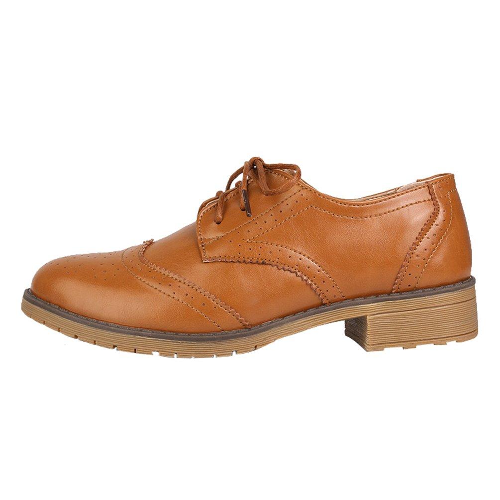 Yiiquan Femme Loisirs Rétro Chaussures Chaussures Chaussures Derby Brogues Plat Bout Loisirs Rond Classique Lacets Chaussures Marron Clair 4e56f1e - fast-weightloss-diet.space