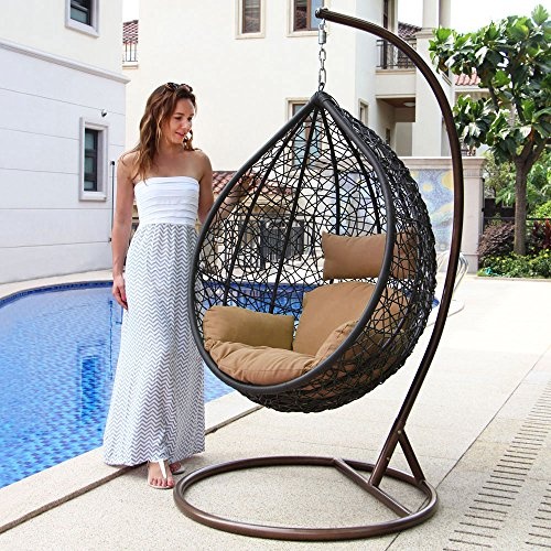 Island Gale Hanging Basket Chair Outdoor Front Porch Furniture with Stand and Cushion (Brown Wicker, Beige Cushion)