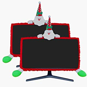 MNKXL 2 Pack Christmas Monitor Cover 3D Santa Claus Christmas Decoration Elastic Adjustable Computer Monitor Cover for Home Office Decor Laptop Display Dustproof Cover Monitor Screen Protector