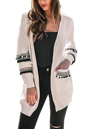 d8d5c19ce8d Cardigan Mi Long Femme Veste Patchwork Oversize Gilet Tricot Laine Blazer  Bolero Manche Longue Boheme Chic