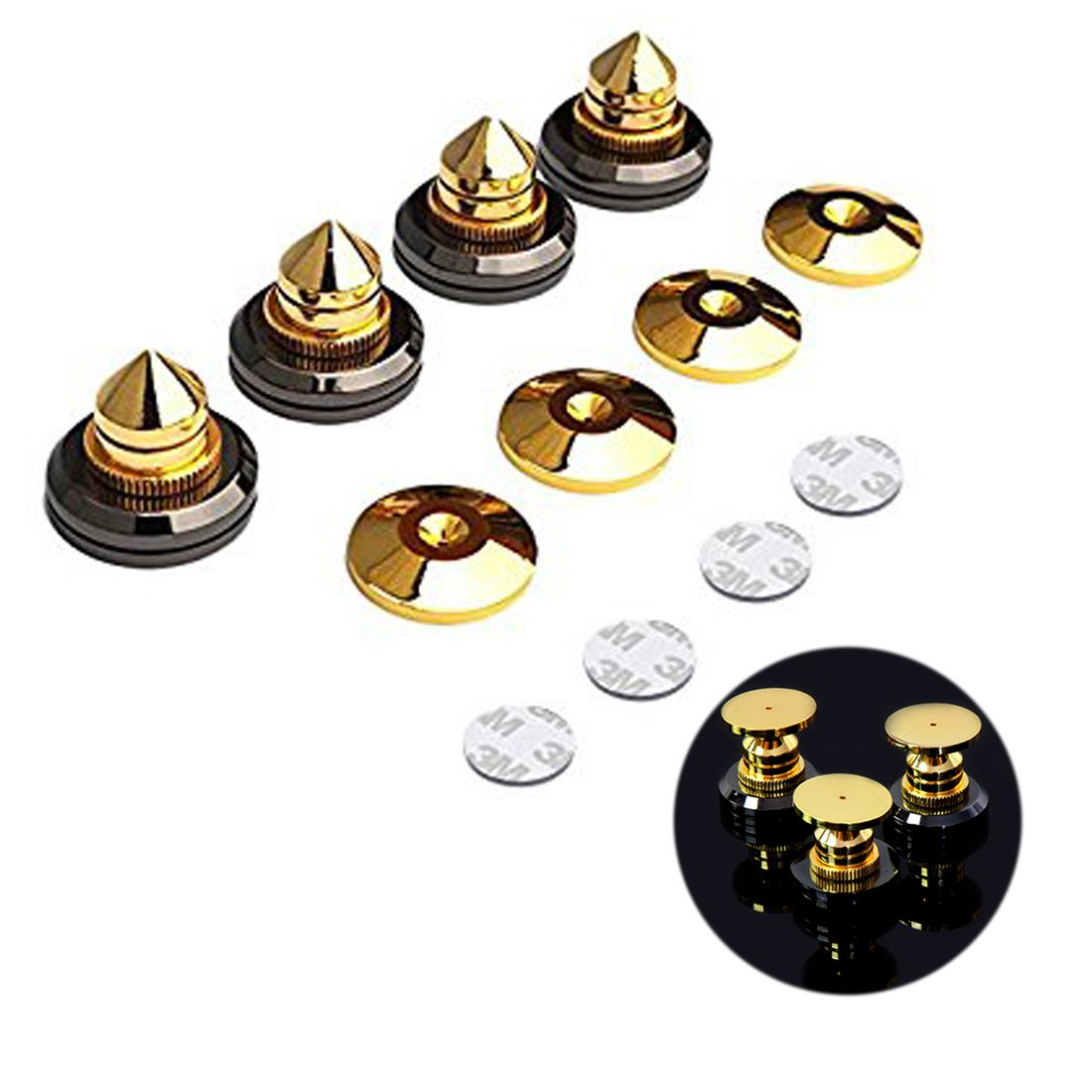 4pcs Golden giradischi isolamento speaker Spikes CD audio amplificatore antiurto tappetino supporto piedi Spike stand piedini con 4pcs 3  m biadesivo Adhensive Leiqin
