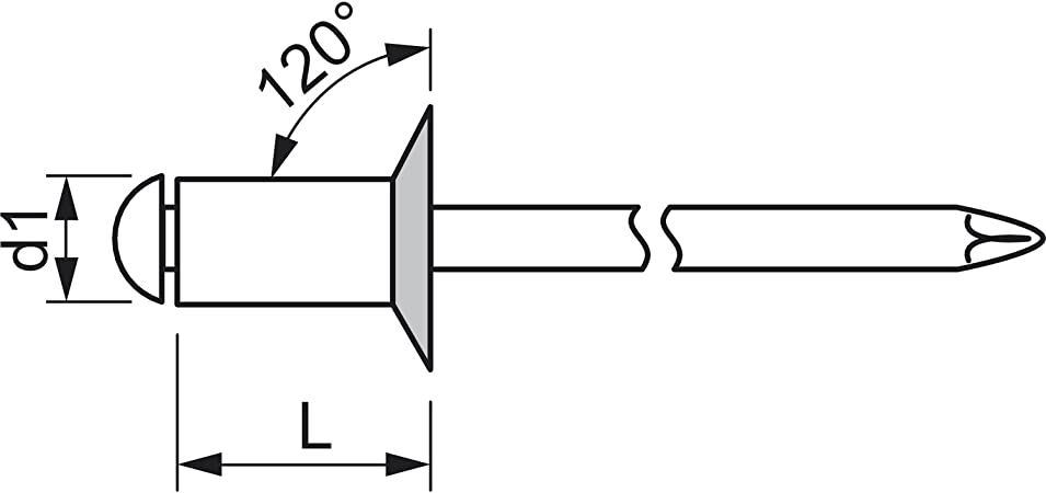 Aluminium mit Edelstahldorn 4 x 12 mm GESIPA Blindniete Senkkopf 500 St/ück,1455124