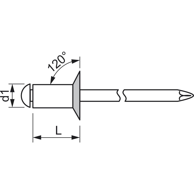 500 St/ück,1455124 4 x 12 mm GESIPA Blindniete Senkkopf Aluminium mit Edelstahldorn