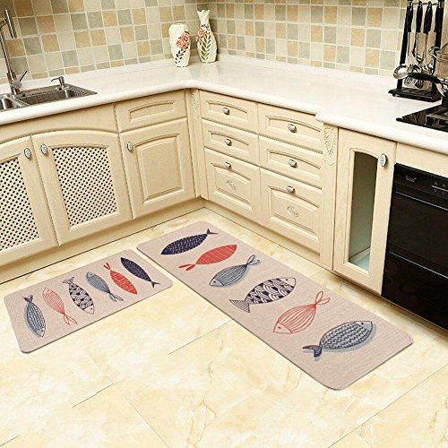 Kitchen Rugs,LEEVAN 2 PCS Vintage Microfiber Non-Skid/Slip Rubber Back Washable Doormat Floormat Area Rug Carpet (17